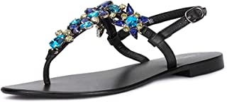 Saint G Womens Hand Crafted Multicolor Stone Leather Flats