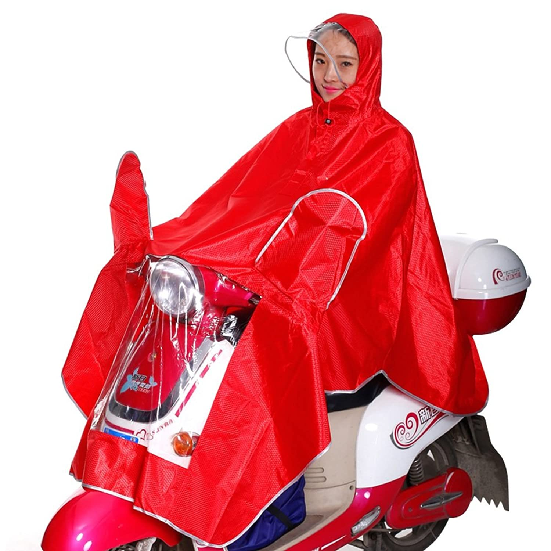 PENGFEI レインコートポンチョ ジャケット 防水 帽子の庇 電気自動車 オートバイ 360°発光ストリップ 広げた 個人 (色 : Red, サイズ さいず : XXXXL)