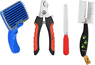 Foodie Puppies Pet Grooming Accessories Combo for Dogs & Puppies (Blue Slicker/Nail Clipper/Paw Dual Comb)