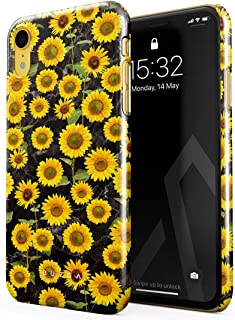 BURGA Phone Case Compatible with iPhone XR Yellow Sunflowers Vinatge Flowers Floral Print Pattern Fashion Designer Cute for Women Thin Design Durable Hard Plastic Protective Case