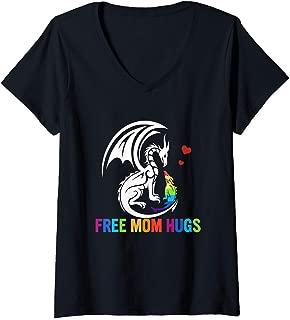 Womens Free Mom Hugs - LGBT Pride Mama Dragon Rainbow Gift T-Shirt V-Neck T-Shirt
