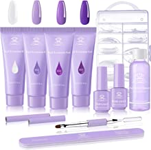 Makartt Poly Nail Extension Gel Kit, Purple Nail Builder Gel Enhancement Kit with Slip Solution Clear Purple Poly Extensio...