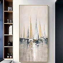 Handgeschilderd Olieverfschilderij - Abstract Modern Kleurrijke Zeilboten 100% Handgeschilderd Olieverfschilderij Op Canva...