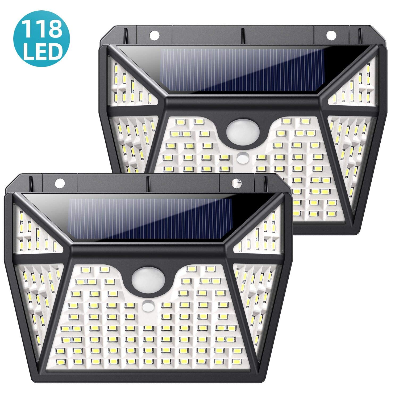 Luz Solar Exterior,QTshine Foco Solar Exterior 118 LED【Versión Ultra-Brillante】con Sensor de Movimiento Lámpara Solar Impermeable Gran Ángulo 270º de Iluminación Luces Solares Jardín 2-Paquete: Amazon.es: Iluminación