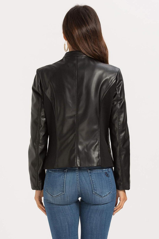 Womens Faux Leather Jacket Zip Up Moto Biker Coat Short PU Leather Jackets Slim Fit