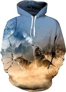 Unisex 3D Hoodie Cool Pullover Hooded Sweatshirts Big Pockets Fleece Plush Lining