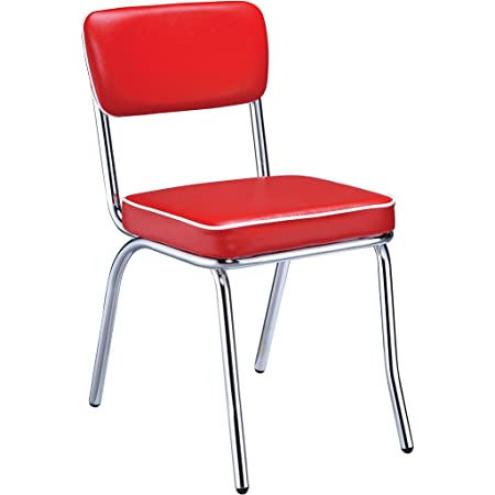 Amazon Com Retro Side Chairs With Black Cushion Chrome And Red Set Of 2 Chairs