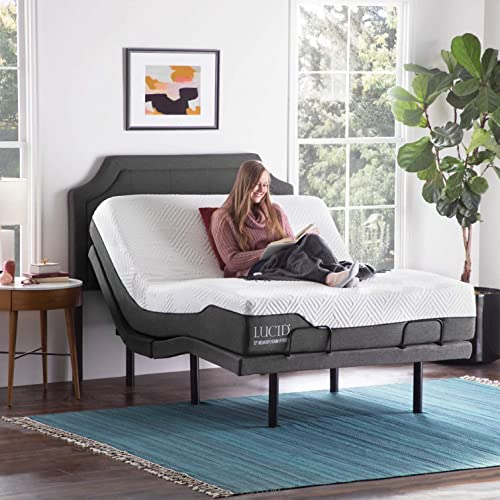 Amazon Com Lucid L300 Adjustable Bed Base With Lucid 12 Inch Memory Foam Hybrid Mattress Queen Kitchen Dining