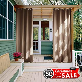 NICETOWN Waterproof Outdoor Curtain Panel for Patio, W52 x L108, Grommet Top Thermal Insulated Blackout Outdoor Drape for Front Porch/Pool (Tan-Khaki, 1 Piece)
