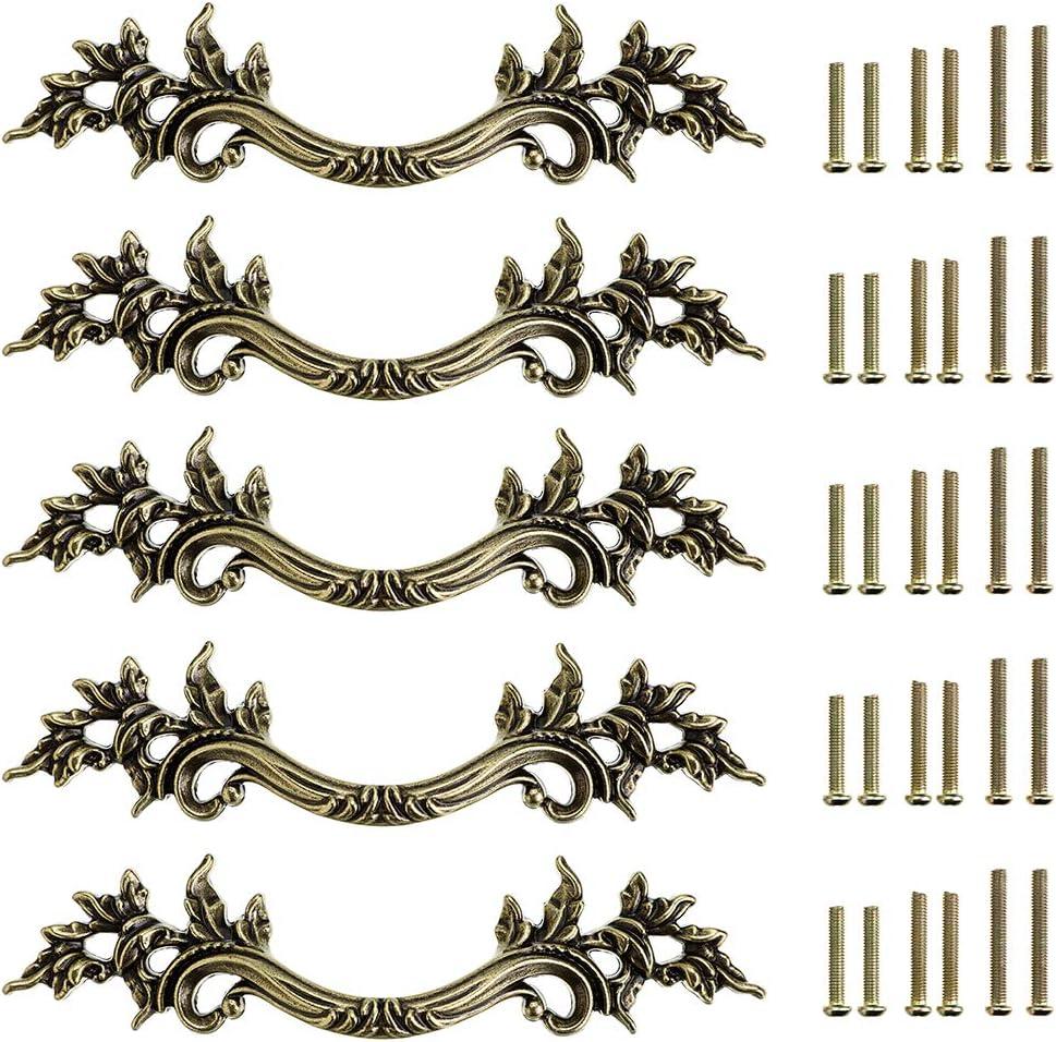 JuxYes Pack of 5 European Style Vintage Cabinet Handles Pulls, Antique Decorative Dresser Drawer Pulls Retro Drawer Pull Handles Knobs for Cupboard Cabinet (Antique Bronze)