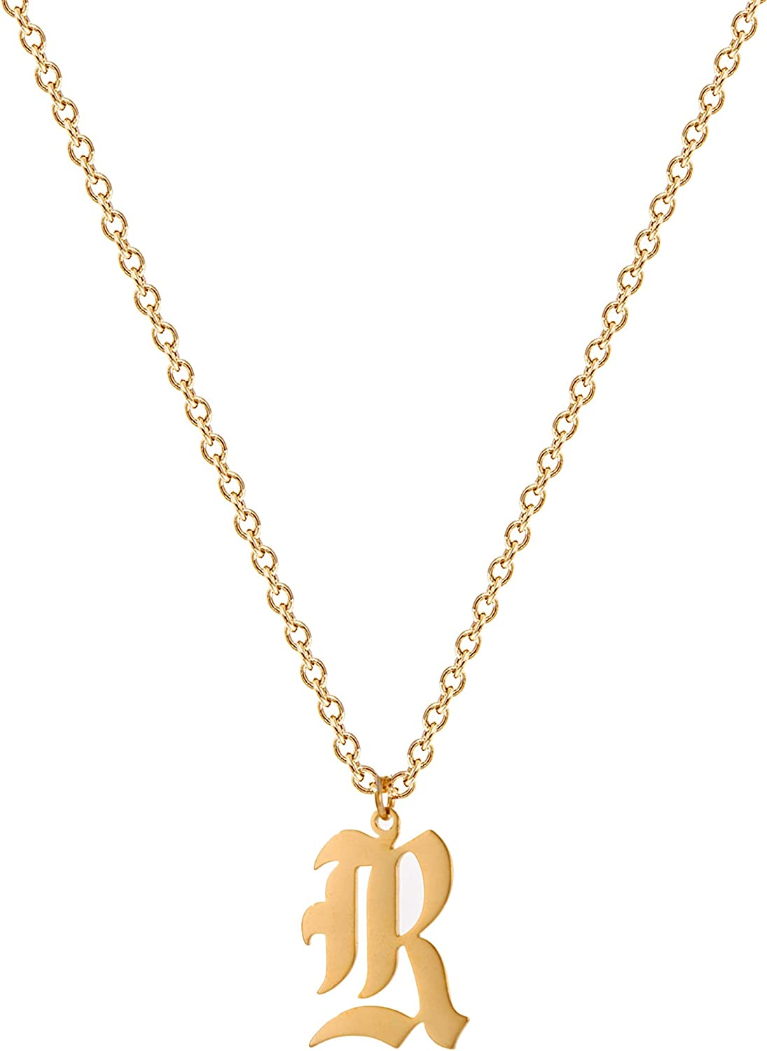 Sewyer Old English Initial Necklace,18K Gold Plated Stainless Steel Dainty Personalized Gothic Letter Pendant Handmade Alphabet Name Necklace Gift for Women Necklace Jewelry