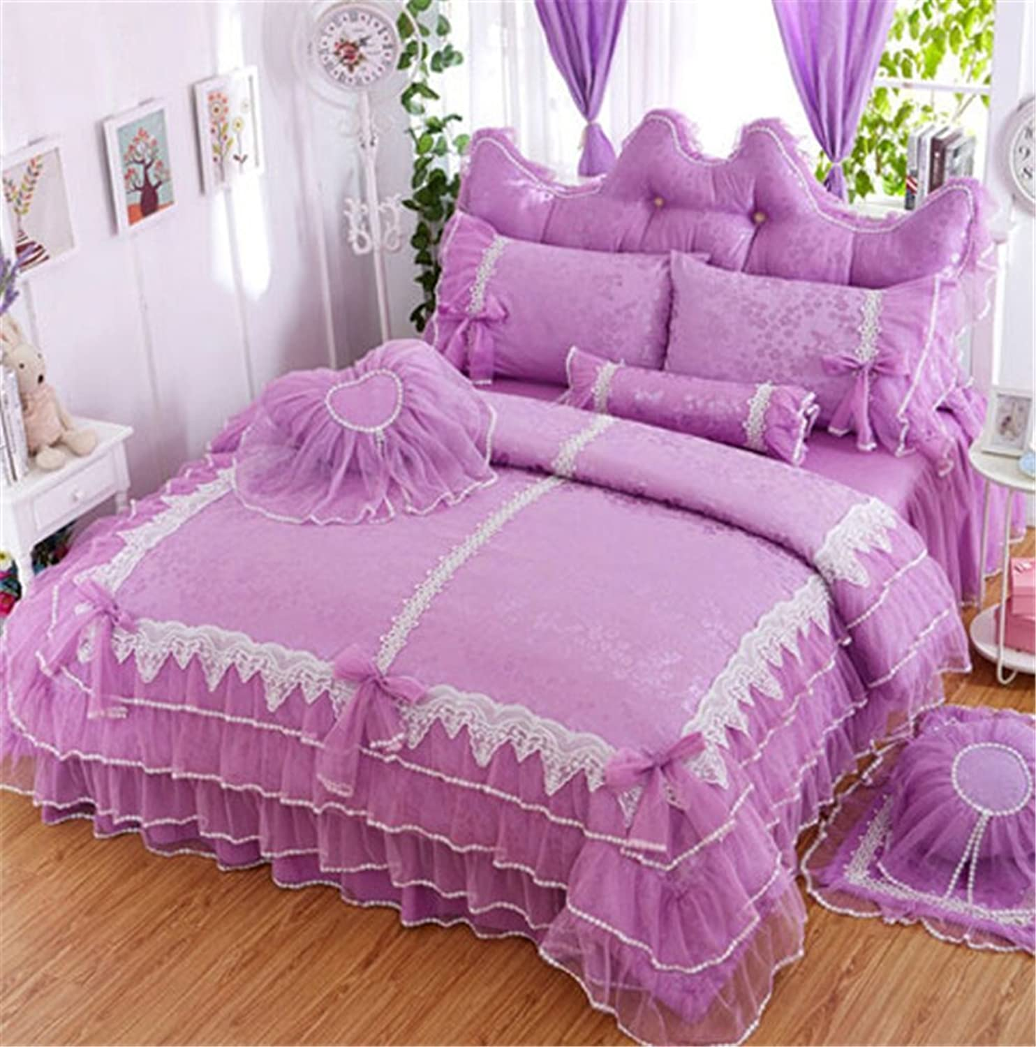 Lotus Karen Luxury Jacquard Lace Ruffles Korean Princess Girls Purple Bed Sheet Set 100% Cotton 4PC Wedding Bedding,1Duvet Cover,1Bedskirt,2Pillowcases King Queen Full Twin Size