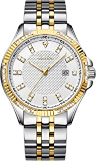 Diamond Watches for Men, 42mm Oversized with 43 Flash Diamonds Male Dial, Luxury Business Waterproof Luminous High Hardness Mineral Surface Calendar Simple Fashion Stainless-Steel Strap Watch