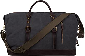 S-ZONE Oversized Canvas Genuine Leather Trim Travel Tote Duffel Shoulder Weekend Bag..