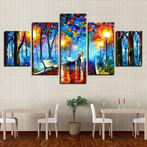 te hará satisfecho YHEGV Impresiones en en en Lienzo Impresiones en Lienzo Cartel Decoración para el hogar Arte de la Parojo Marco 5 Piezas Caminar bajo la Lluvia Nightscape Fotos Abstracto Color árbol Pintura  venta caliente