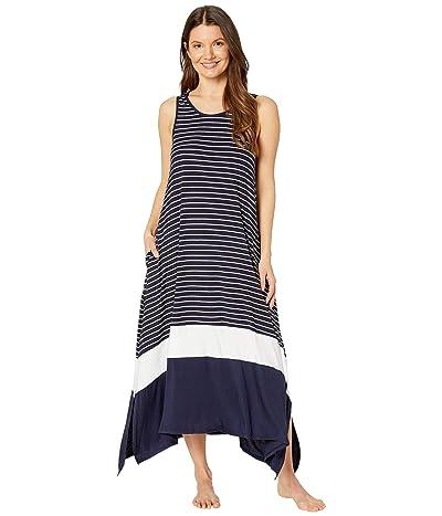 Donna Karan Modal Spandex Jersey Long Gown (Ink Stripe) Women