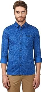 Park Avenue Full Sleeve Ainsley Collar Slim Fit Dark Blue Cotton Printed Shirt for Men