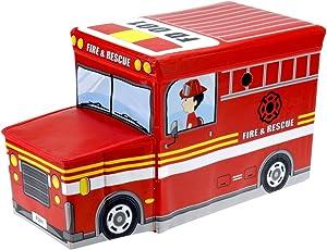 Promobo Sitzsack Hocker Truhe Kinder Form-Feuerwehrauto