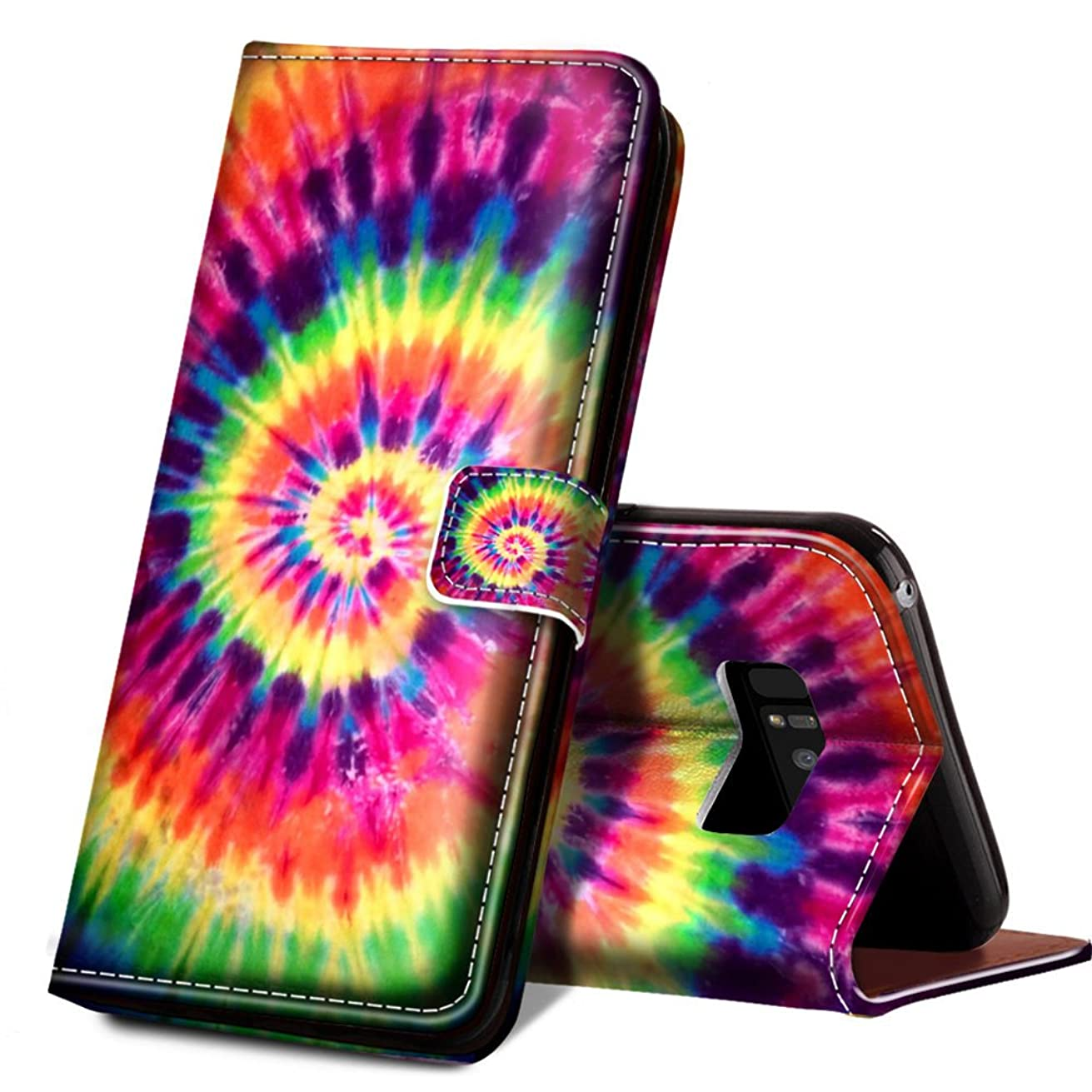 ONSPACE Wallet Case For Samsung Galaxy Note 8, Magnetic Protective Cover Case Card Slots and Wrist Strap, Custom Printed Colorful Tie Dye Wallet Case, PU leather Stand Feature Galaxy Note 8 Case