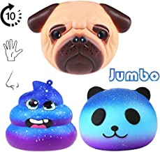 Jumbo Squishies Toy, 3 Pack Squishy Toys Galaxy Panda and Pug Dog, Slow Rising Squeeze Stress Relief Toys Gift Decoration for Kid Adults