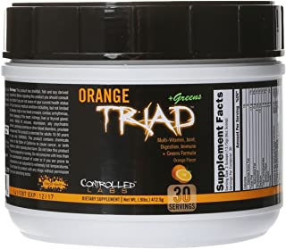 Controlled Labs Orange Triad Plus Greens for Men and Women, 30 Servings Iron Free Sports Supplement for Overall Health, Mu...