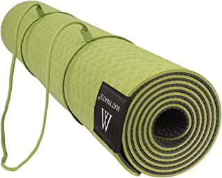 Matymats Yoga Mat, Workout Exercise Mat - 6mm Thick Non Slip Fitness Mat with Carrying Strap for Yoga,Workouts, Home, Gym ...