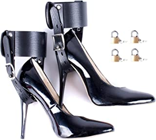 Aaijia Girl Womens Double Ankle Connection High Heels Fixed Lacing Adjustable Black PVC&Leather Edging Belt Foot Sport Tactics Suit