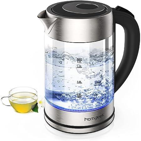 homgeek Hervidor de Agua Electrico, Calentador de Agua 1.7 litros, 2200W Ebullición Rápida con Libre de BPA, Vidrio Borosilicato, Desconexión Automática