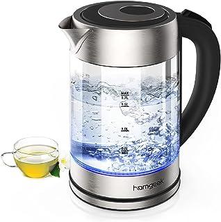 homgeek Hervidor de Agua Electrico, Calentador de Agua 1.7 litros, 2200W Ebullición Rápida con Libre de BPA, Vidrio Borosi...