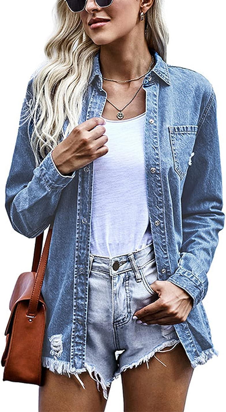 AMEBELLE Women's Lounge Frayed Raw Hem Long Sleeve Hole Snap Denim Jacket with Pocket
