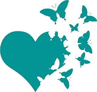 JMM Industries Heart with Butterflies Flying Away Vinyl Decal Sticker Car Window Bumper Die Cut 6-Inches Premium Quality UV Resistant Laminate (6-Inches, Teal)