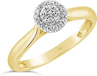Brilliant Expressions 10K Yellow and White Gold 1/10 Cttw Conflict Free Diamond Round Halo Cluster Engagement Ring (I-J Color, I2-I3 Clarity)
