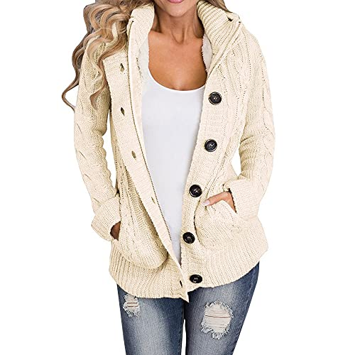 Yacooh Womens Cardigan Sweaters Cable Knit Open Front Hooded Button Down  Sweater Coat 669f65616