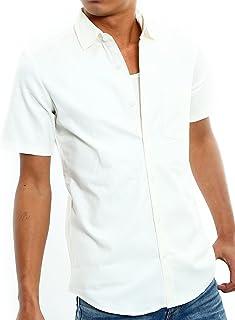 インプローブス 半袖 シャツ オックスフォード スリムシャツ ストレッチシャツ メンズ