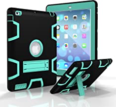 iPad 3 Case, iPad 4 Case, iPad 2 Case, Jeccy Dual layer Rugged Slim Full-body Shock Proof Hybrid Heavy Duty Armor Defender Protective Case with Kickstand for Apple iPad 2/3/4 (Black-Aqua)