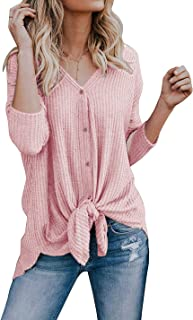 Basic Faith Women's S-3XL Ultra Soft Bat Wing Blouse Casual Button Down Thermal Tops