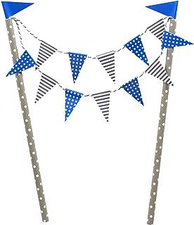 Frau WUNDERVoll KUCHENGIRLANDE BLAU/Topper, Kuchenstecker, Muffin, Geburtstagskuchen, Dekoration, Deko, Kinder, Party, Hochzeit, Hochzeitstorte, Geburtstag