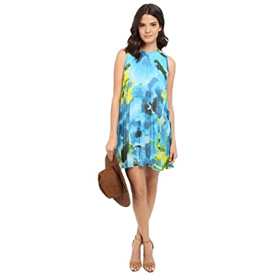 BB Dakota Courtney Large Floral Printed Chiffon Pleated Dress (Sea Blue) Women