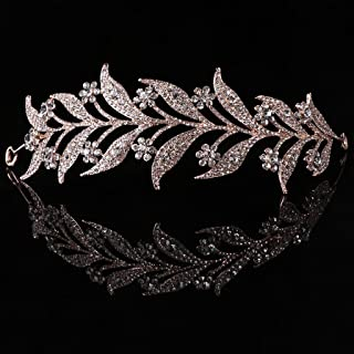 SimpleLife Tiara Fascia Fascia, Copricapo Medievale-Foglia Perla Simulata Fascia Capelli Tiara Corona Sposa Tiara Sposa Pr...