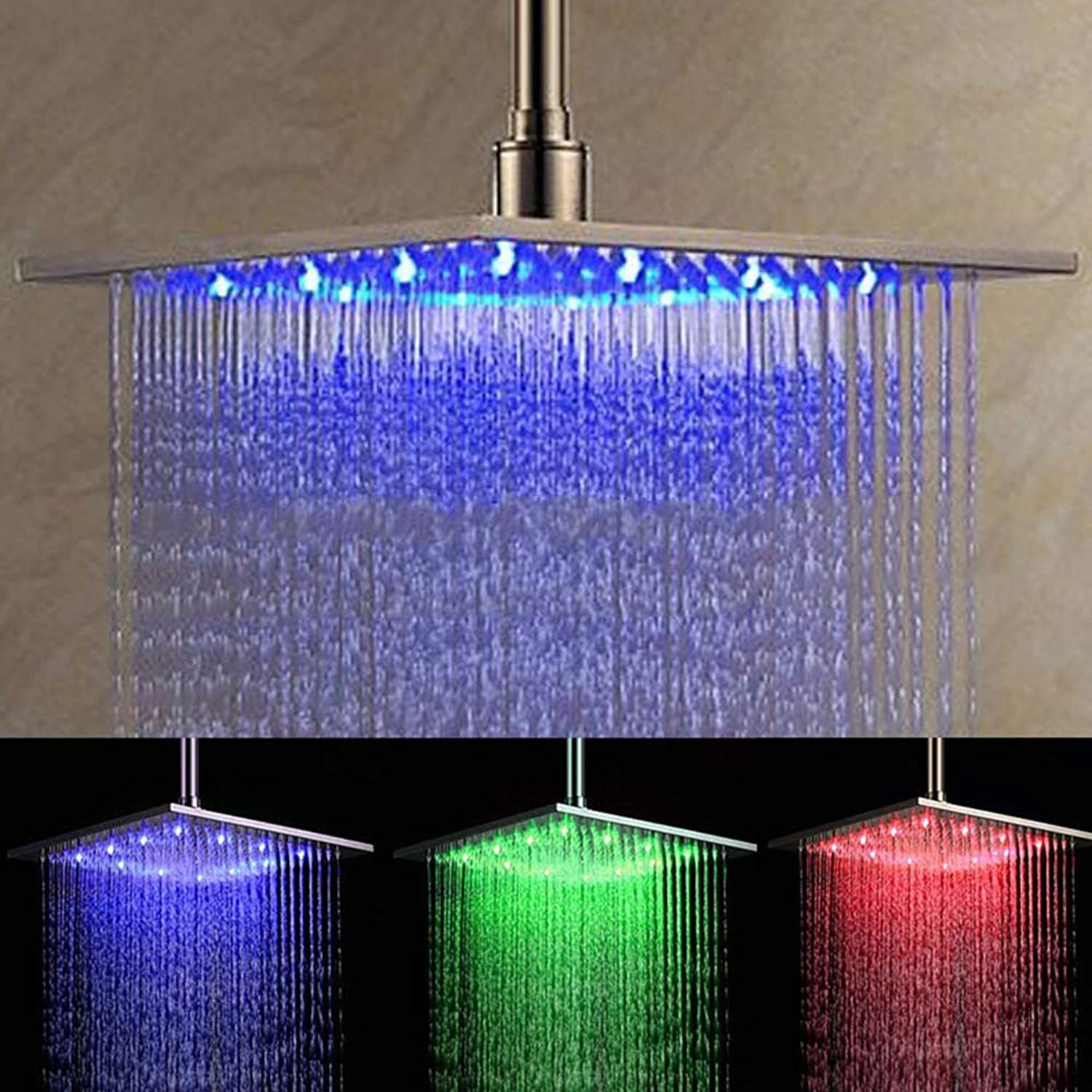 12  LED Shower Head,Temperature control Changing 3 color High Pressure Ionic Shower Head Saving Water Showerhead, Overhead Rainfall Shower Head, Spa Showerhead