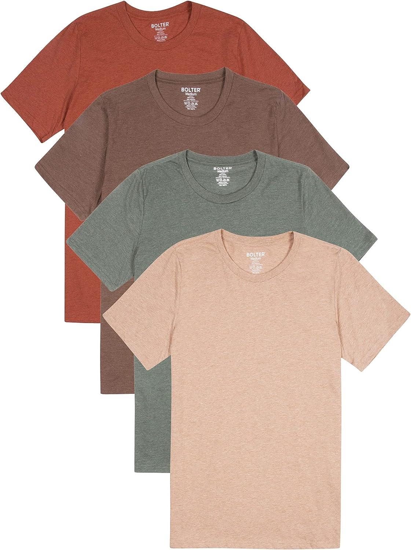 Bolter 4 Pack Houston Mall Men's Everyday T-Shirt Sleeve Short Cotton Cheap SALE Start Blend