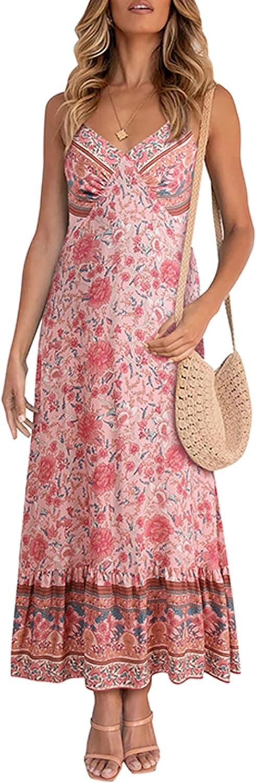 Zando Womens Summer Dresses V-Neck Spaghetti Strap Sleeveless Boho Maxi Dress Casual Backless Beach Dresses for Women