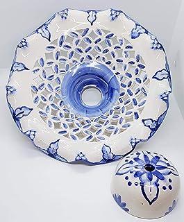 Lampadario Traforo Quadretti Linea Blu Realizzato e Dipinto a mano Nina Palomba Made in Italy diametro 30 centimetri