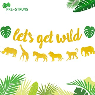 Let's Get Wild Banner Jungle Safari Animal Garland Zoo Themed Baby Shower Wild One Party Welcome Sign Forest 1st Birthday Festival Party Decorations