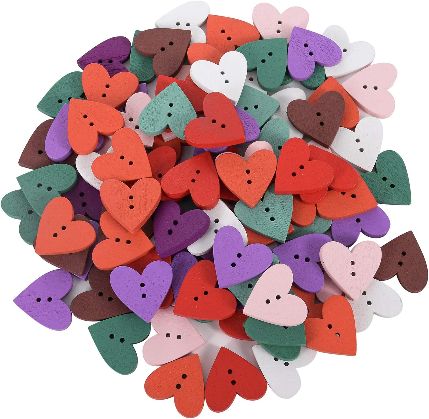 Large discharge sale HOUSWEETY 200PCs Wood Max 89% OFF Sewing Buttons Heart Wooden Love