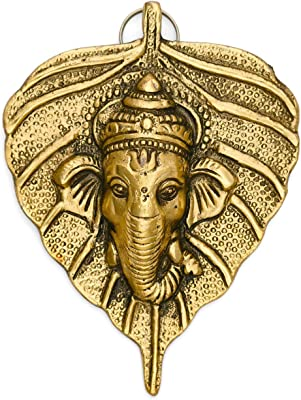 Collectible India Aluminum religion;figures Ganesha On Leaf Wall Hanging Sculpture, Golden, 5'' x 4''