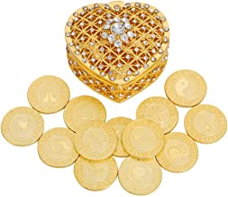 TINGKU Spanish Gold Wedding Unity Coins Set Arras de Boda Wedding Arras Coins Ceremony Souvenirs Accessories with Heart Sh...
