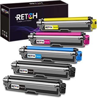 RETCH Compatible Toner Cartridge Replacement for Brother TN221 TN225 for Brother MFC-9130CW HL-3170CDW HL-3180CDW MFC-9330CDW MFC-9340CDW MFC-9342CDW (2 Black 1 Cyan 1 Yellow 1 Magenta)