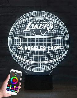 LVDOI Nueva lámpara de ilusión óptica 3D teléfono aplicación Bluetooth control remoto luz nocturna inteligente Halcón Milenio decoración lámpara de juguete para niños regalo (Lakers)