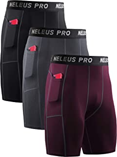 Neleus Men's 3 Pack Running Compression Shorts with Pockets